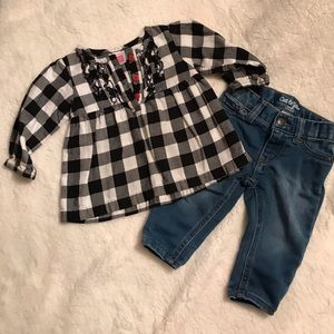 Carters Buffalo plaid top with Old Navy jeans